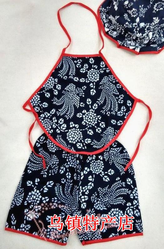 儿童小孩婴儿肚兜短裤套装六一演出服表演服蓝印花布红色大花童装
