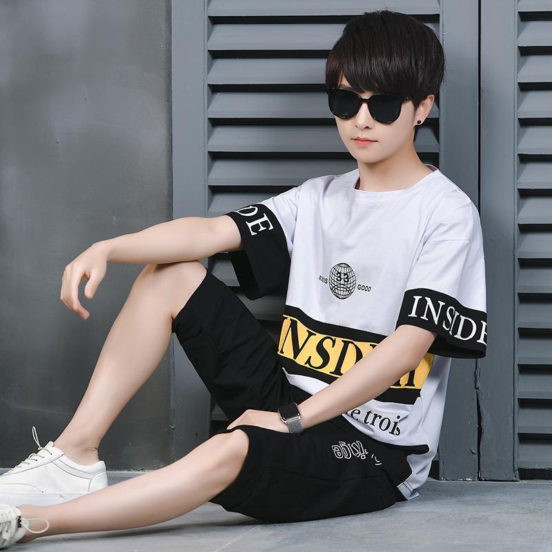 大童男装12-15岁短袖T恤男孩初中学生夏季运动套装13青少年夏装潮