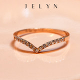 玥 景 Jelyn gold AU750 rose gold 18K white gold zircon simple crown fashion row diamond female ring tail ring