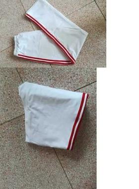 可定做高中初小学生校裤男女白色运动直筒裤三道一厘米酒红杠长裤