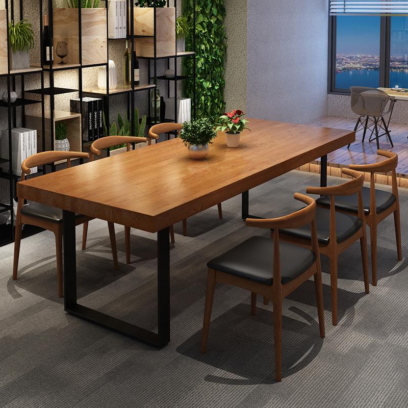实木办公会议桌长桌简约现代餐桌茶桌长条大桌子工作洽谈桌椅组合