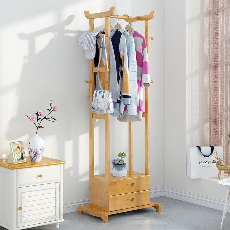 衣帽架落地卧室挂衣架简易衣架简约现代衣服收纳架实木卧室置物架