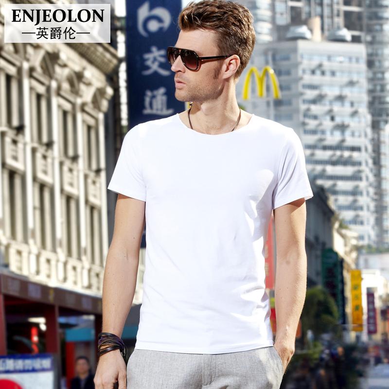 英爵伦 夏季男士短袖T恤 英伦风男装衣服 纯色夏装欧美上衣潮体恤