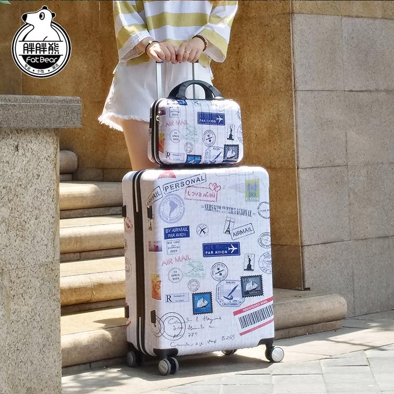 胖胖熊郵戳復古拉桿箱abs行李箱登機箱pc旅行箱密碼鎖託運箱