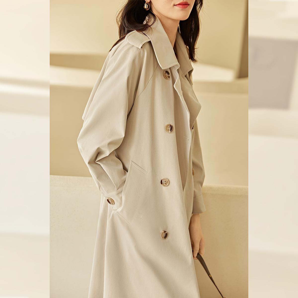 对白高端大气风衣 新款中长款春季气质流行外套女韩版宽松大衣  2021