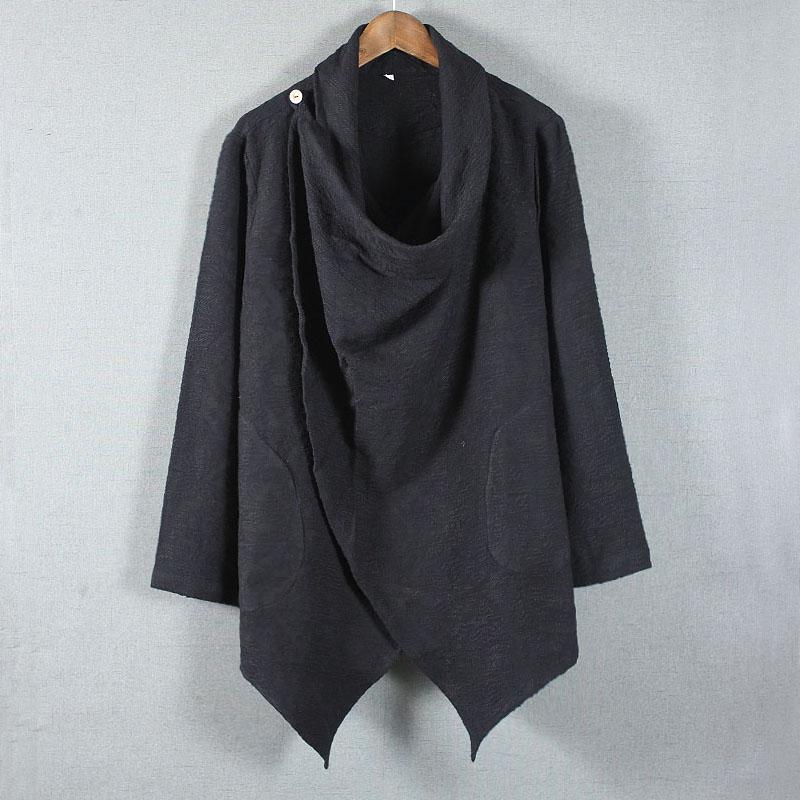 中国风复古亚麻禅服男风衣中式古风汉服男装秋冬季外套居士禅意服