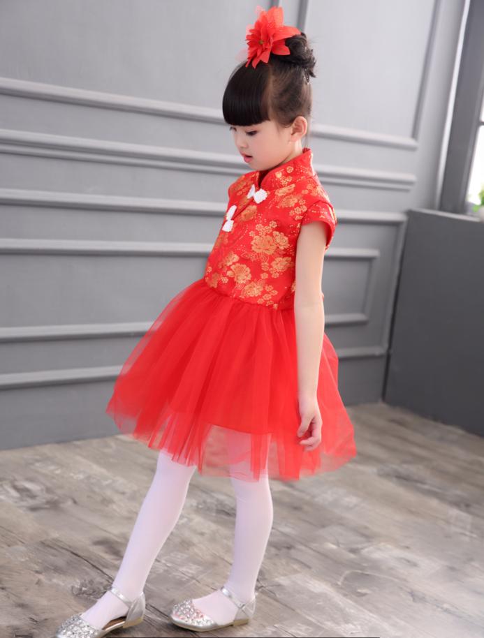 小女孩旗袍夏中国风复古改良女童中式连衣裙儿童中大童唐装公主裙
