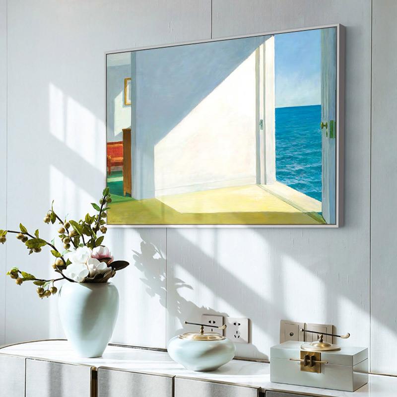手绘临摹名画爱德华.霍珀《海边的房间》餐厅卧室极简装饰画定制