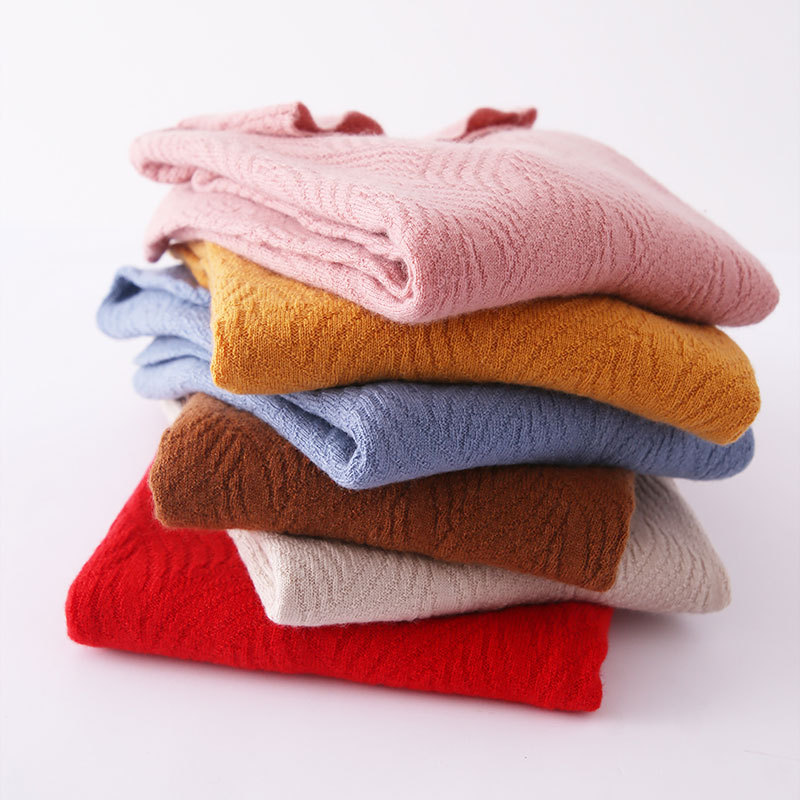 新款堆堆高领套头内搭打底针织衫女宽松长袖秋冬非羊绒纯色毛衣女