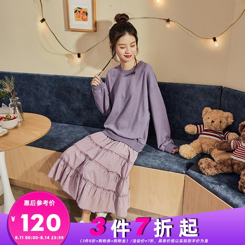 唐狮2020年秋装新款假两件连衣裙女拼接气质仙女裙网红时尚卫衣裙