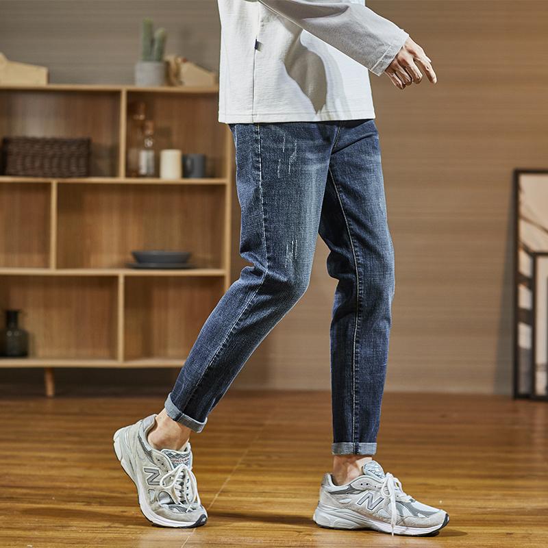唐狮 夏季薄款牛仔裤男修身小脚男士弹力休闲长裤韩版潮流百搭  2020