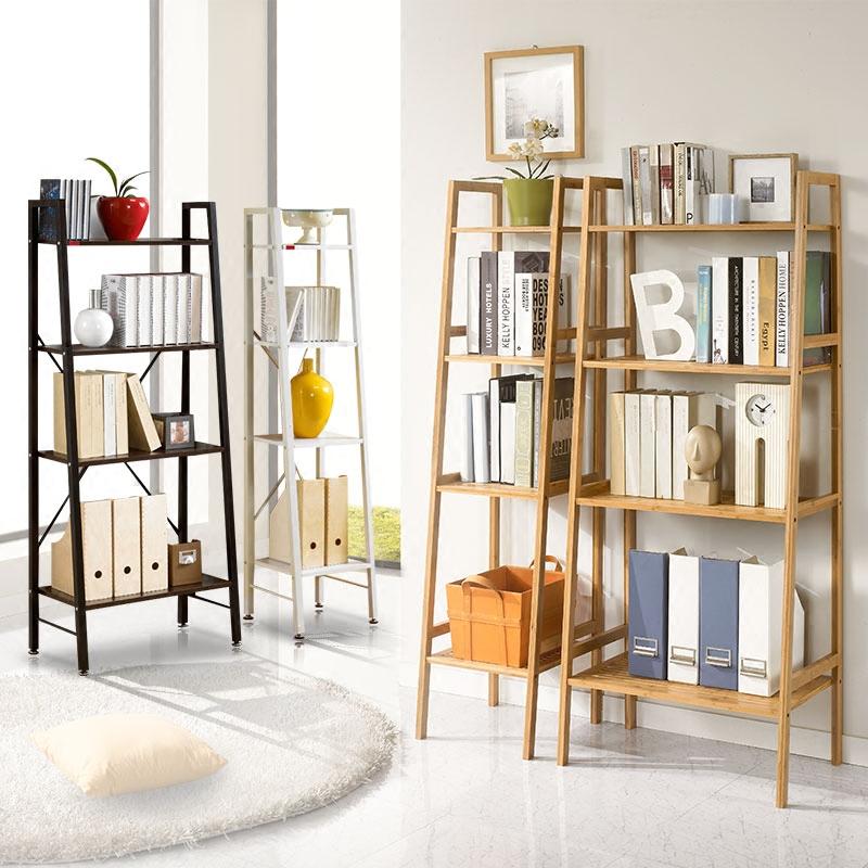 RUICHANG實木梯形置物架簡約現代落地書架儲物展示層架隔板置物架