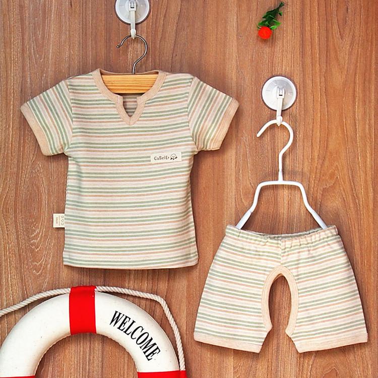 夏款童裝寶寶彩棉短袖T恤短褲兩件套裝男女兒童外出服純棉開襠褲