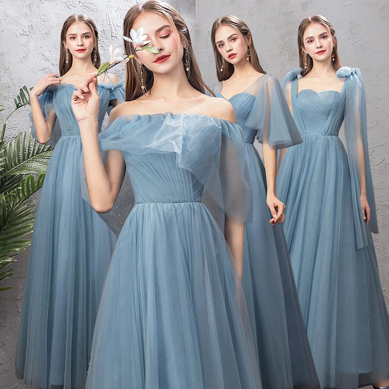 伴娘服长款2019新款姐妹裙伴娘团闺蜜小礼服显瘦一字肩宴会礼服女