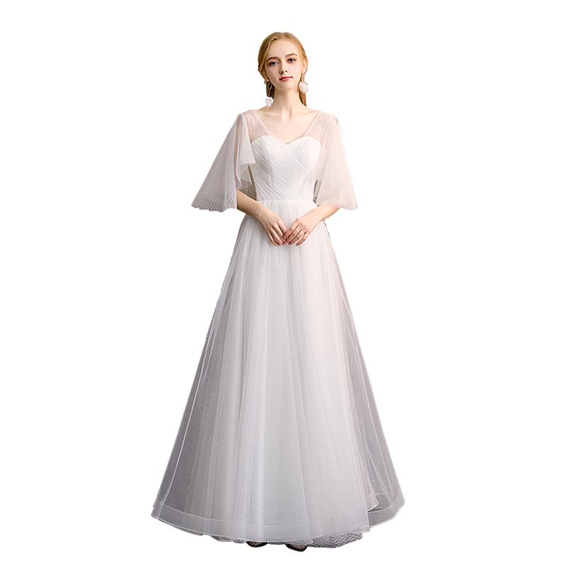 晚礼服长款白色2019新款显瘦伴娘服姐妹裙年会晚礼服主持演出服女