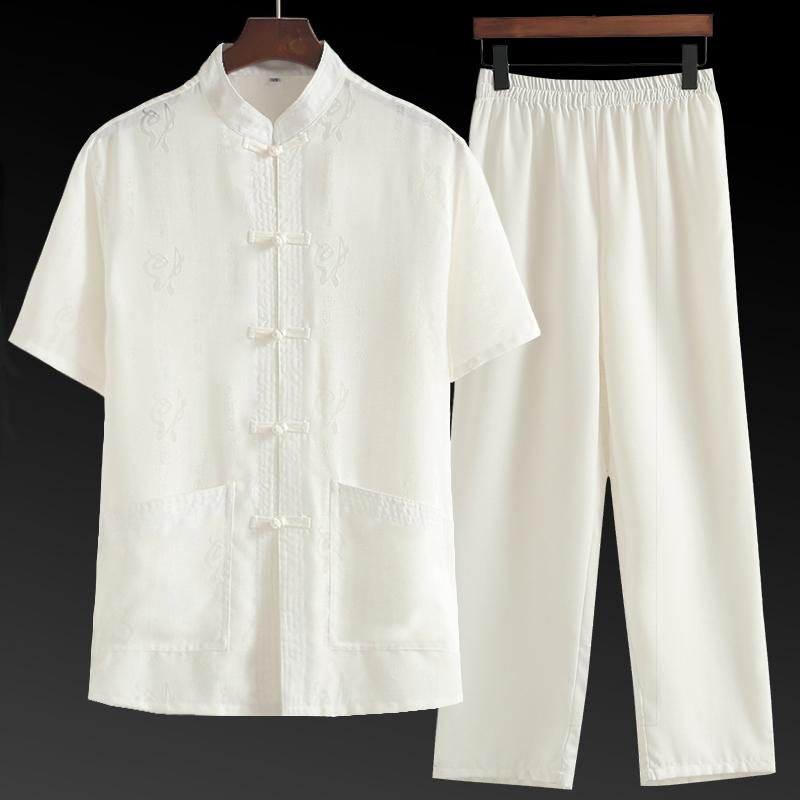棉麻唐装男短袖套装中国风男装中老年人亚麻爷爷夏装爸爸老人衣服