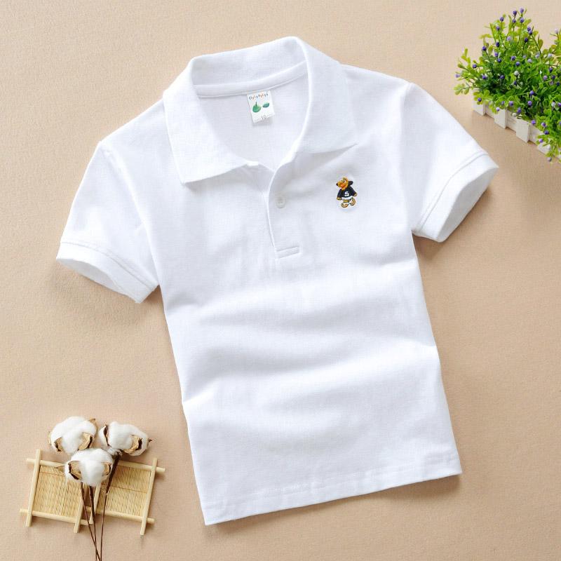 童裝2019夏裝兒童短袖t恤學生純棉班服演男童白色半袖Polo衫校服