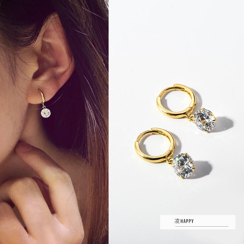 韩国流行纯14k/10k黄金耳钉女 个性时尚简约闪亮锆石吊坠