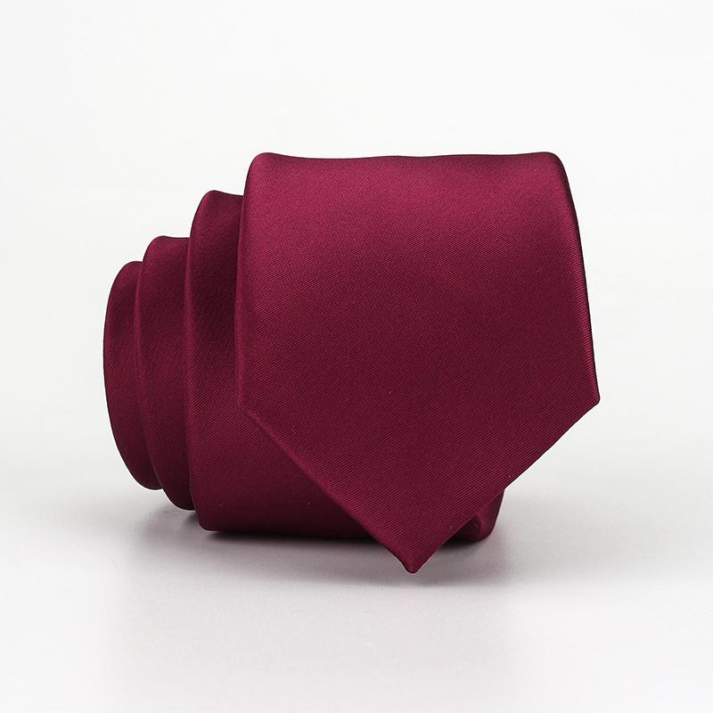 韩版6cm男士结婚领带酒红色 新郎婚礼学生西装衬衫纯色时尚细窄款