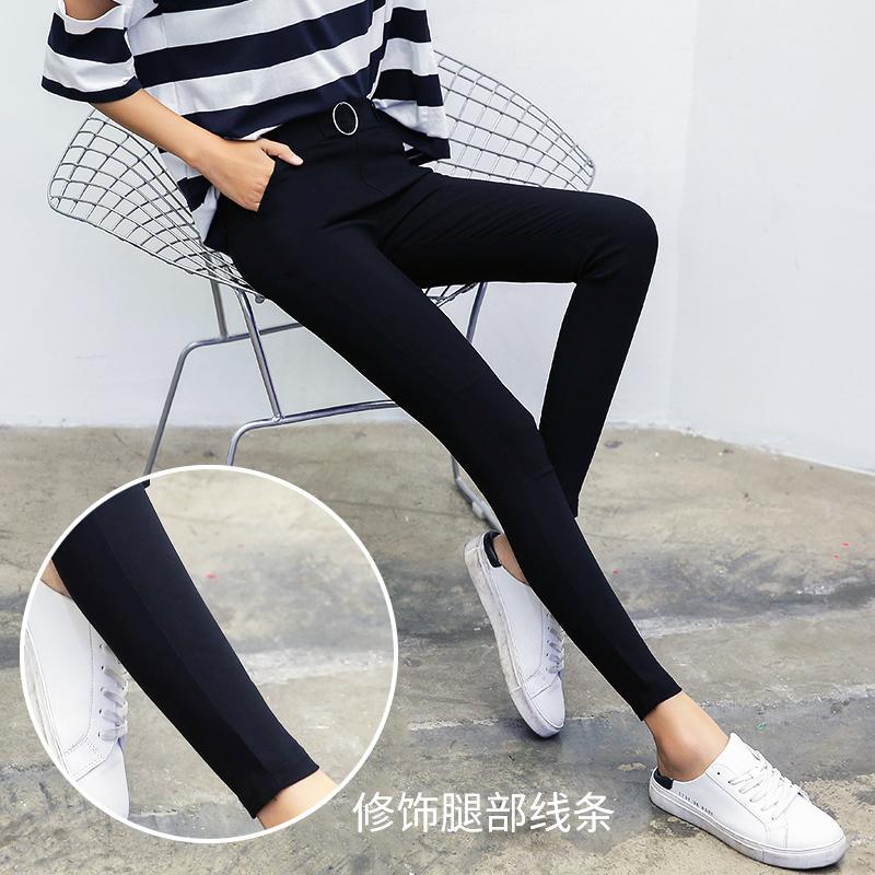 打底裤女外穿春秋薄款弹力紧身2019新款高腰显瘦铅笔裤黑色小脚裤