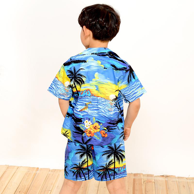 新款儿童男女童沙滩衬衣印花纯棉休闲短袖衬衫六一演出服短裤套装