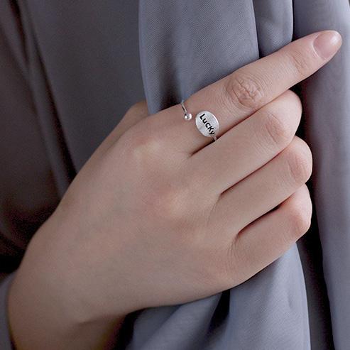 开口戒英文好运个姓女戒指环 字母 lucky 纯银 S925 故事银制简约设计