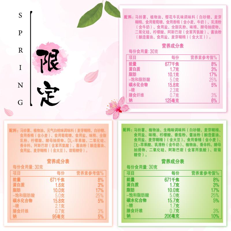 乐事薯片樱花生梅白桃味65/125春季限定网红零食组合礼包王源代言