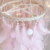 Plush feather ball candy circle wooden wind chimes pearl pendant Nightlight Christmas gift handmade DIY material package
