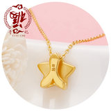 Li Fuji 3D hard foot gold five-pointed star heart-shaped gold pendant new small fresh male and female clavicle chain couple chain