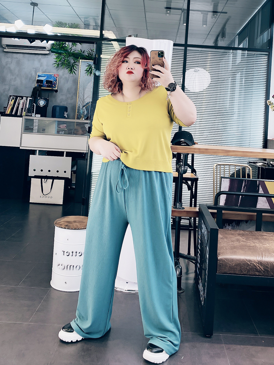 2020新款大码女装洋气春装200斤胖MM宽松垂感阔腿裤高腰拖地长裤