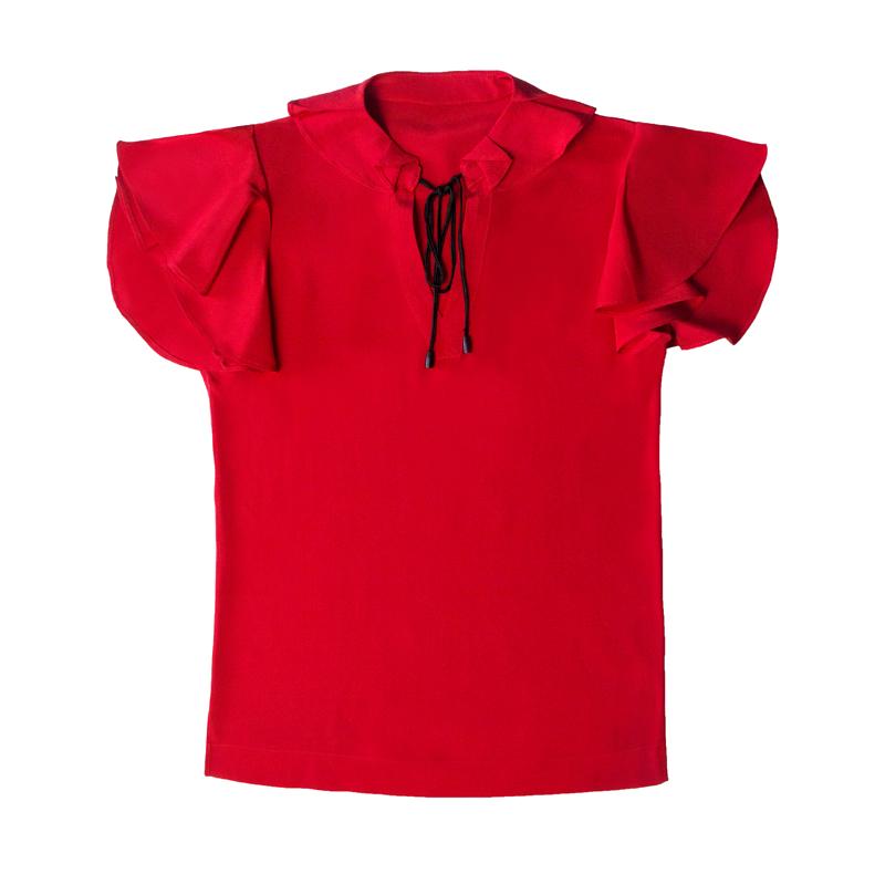 迷宝新款V领系带荷叶边真丝衬衫 纯色套头简约大方短袖T恤上衣女
