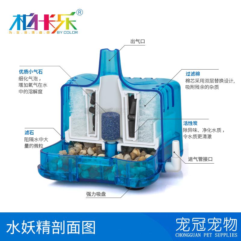 高效过滤迷你水妖精气动式生化过滤器吸便器 陶瓷 圆形鱼缸过滤器