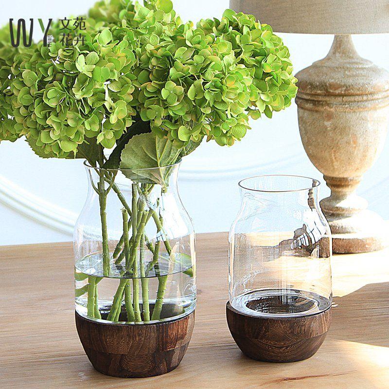 美式鄉村北歐玻璃透明創意小清新花瓶餐桌插花乾花花器客廳擺件