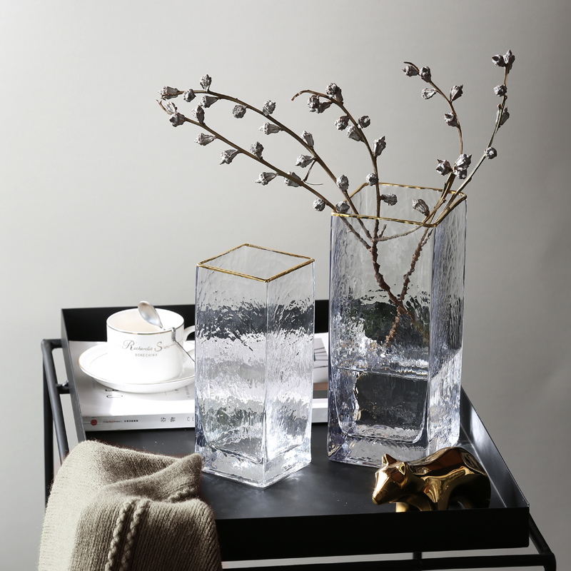 简约现代玻璃花瓶透明插花瓶北欧美式客厅餐桌轻奢家居装饰品摆件
