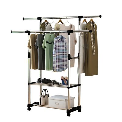 晾衣架落地双杆式简易晾衣杆家用卧室晒衣架阳台不锈钢挂衣服架子