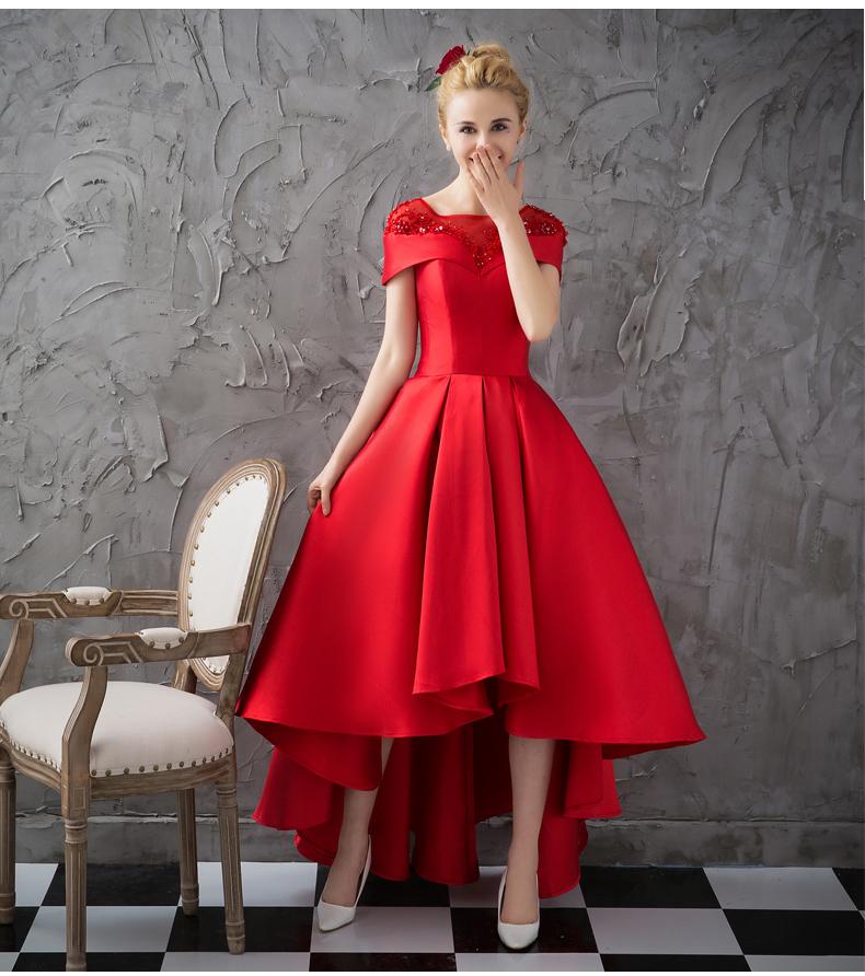 红色敬酒服2019新款主持走红毯前短后长缎面显瘦晚礼服伴娘团女夏