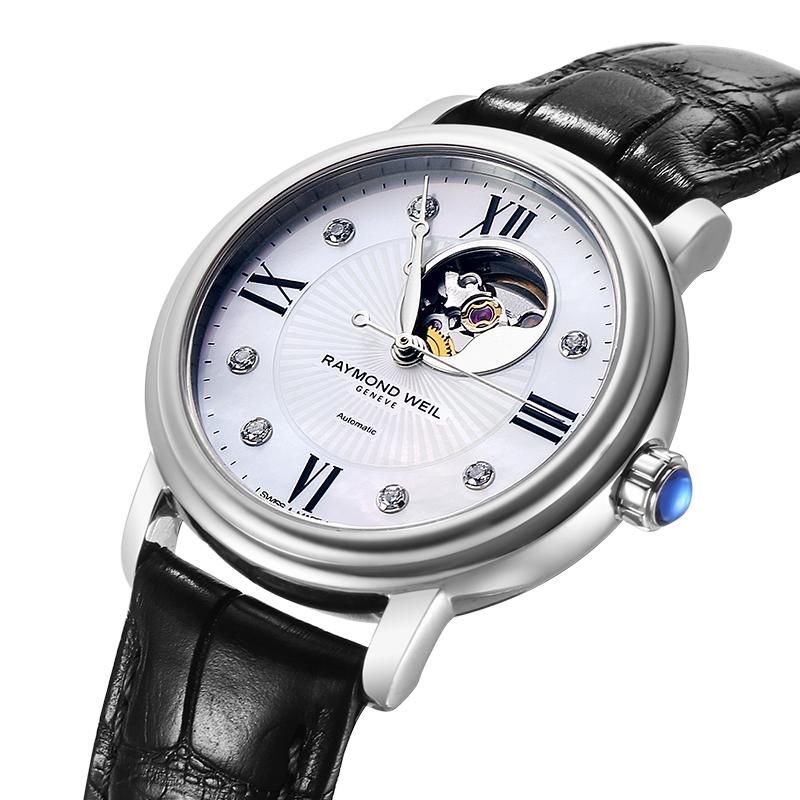 蕾蒙威Raymond Weil大师系列白贝母盘镶钻镂空机芯女士机械腕表