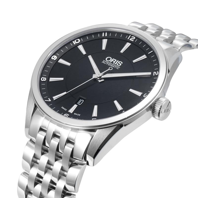 瑞士豪利时ORIS文化经典系列42mm黑盘日历男士钢带商务腕表