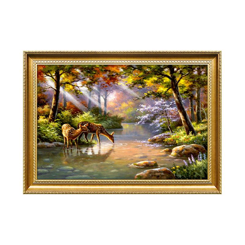 手繪歐式古典風景油畫玄關裝飾畫美式別墅壁爐客廳鹿掛畫餐廳壁畫