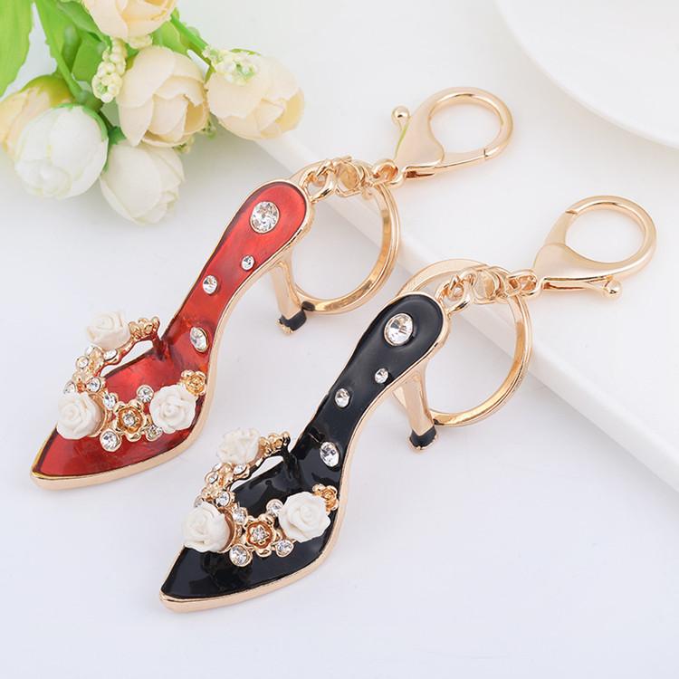 迷你高跟凉鞋钥匙扣汽车钥匙链女包包挂件创意礼品水晶饰品送女友