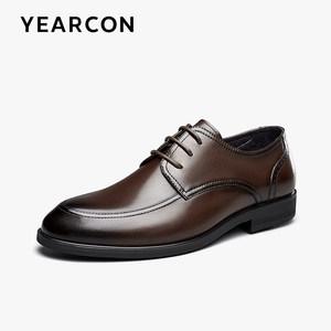 意尔康皮鞋秋季真皮透气内增高牛皮鞋英伦商务正装男士新郎结婚鞋