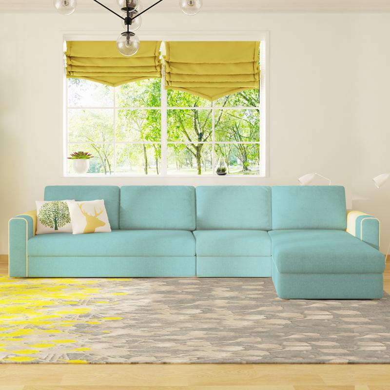 沙发床可折叠多功能两用客厅小户型组合转角双人布艺拆洗储物北欧