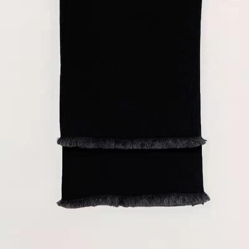 韩国 秋款高腰黑色九分直筒牛仔裤女弹力显瘦阔腿八分小直筒裤  2021