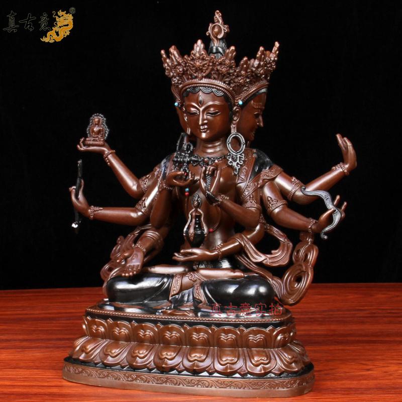 纯铜尊胜佛母佛像摆件藏传佛教长寿三尊三面八臂菩萨摆件 真古意