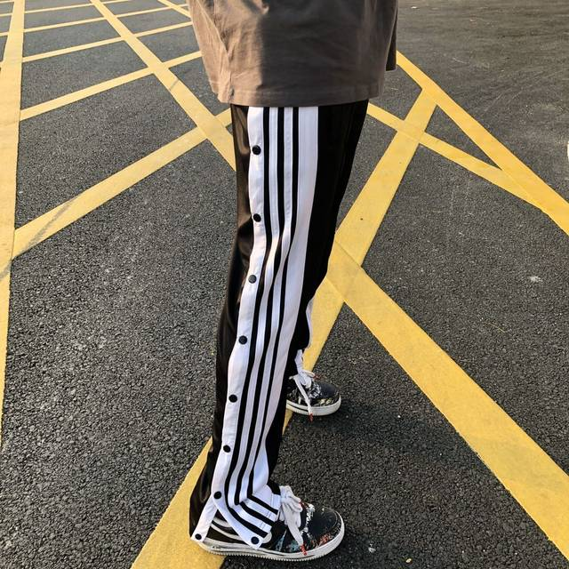 HELIPORT apron tide brand black and white striped straight breasted pants high street trousers loose men and women face hip-hop