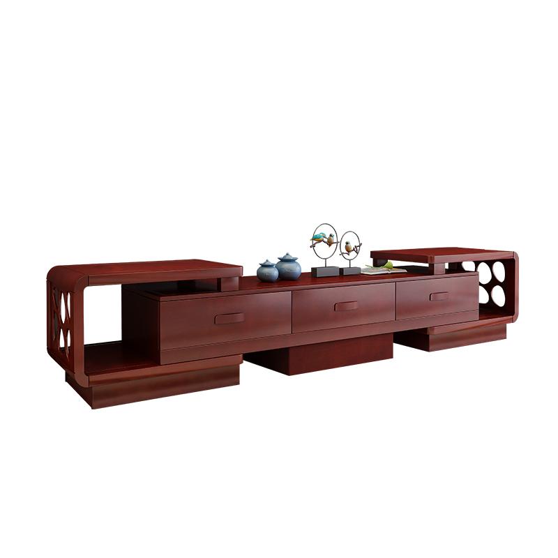 实木电视柜简约现代新中式地柜伸缩全实木客厅家具套装组合茶几木
