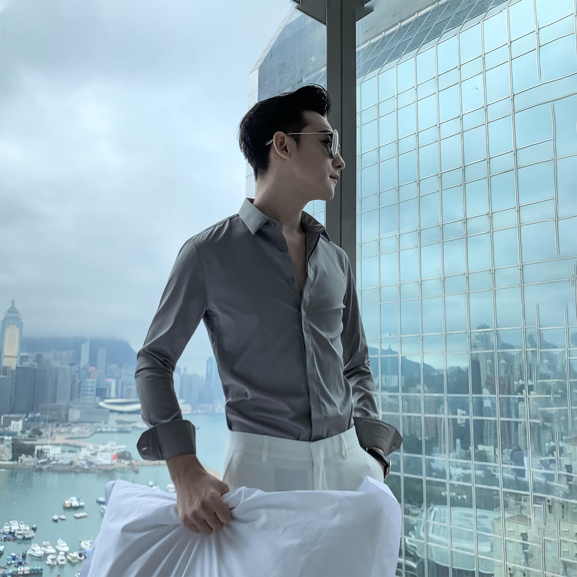 韩国男士长袖衬衫春夏尖领纯色百搭英伦休闲衬衣 DAIO   MENS