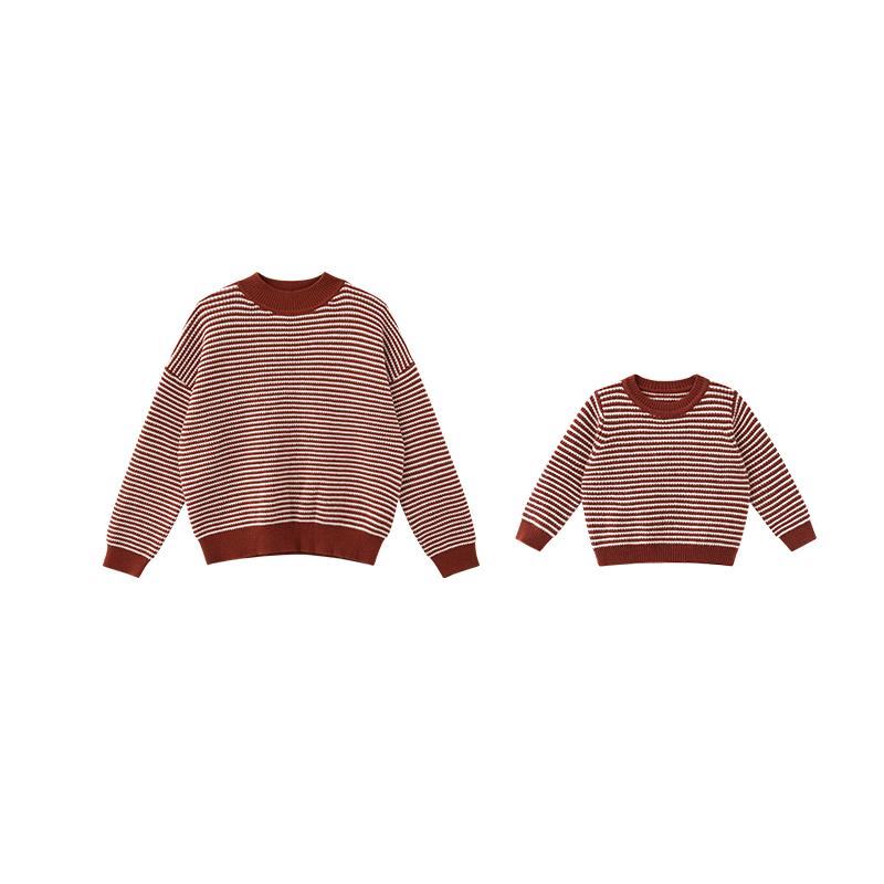 洋气秋装儿童针织衫上衣 辰辰妈抖音同款网红亲子装条纹毛衣套头