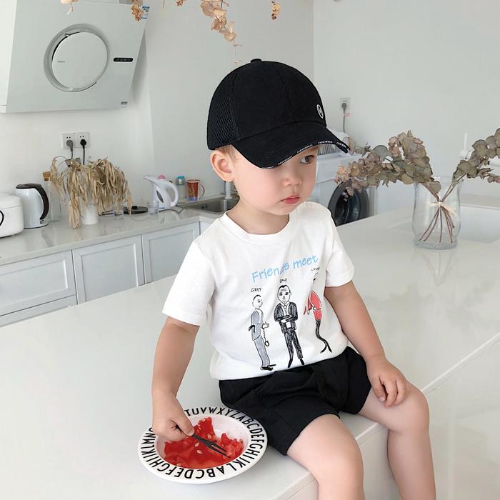 [淘寶網] 辰辰媽 童裝三個小人手繪印花嬰兒男寶寶白色t恤短袖百搭兒童上衣