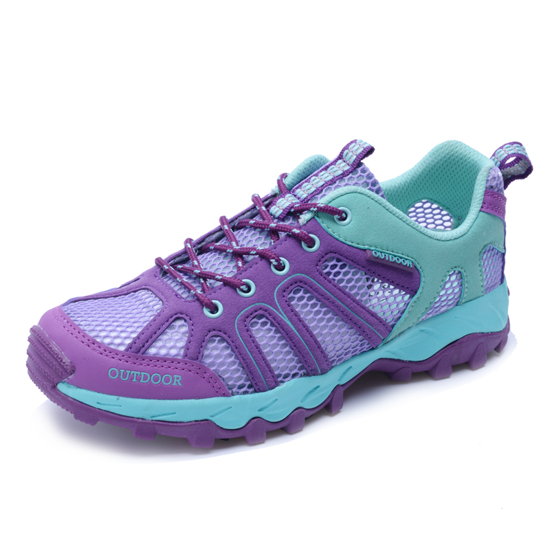 夏季户外徒步登山鞋情侣透气防滑旅游鞋女士网面涉水鞋轻便越野鞋